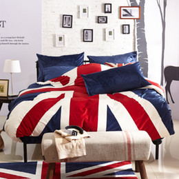 Wholesale Velvet Bedding Sets - Flag Plush bedding, New Fashion Bedding Set 4pcs Duvet Cover Sets Soft velvet Bed Linen Flat Bed Sheet Set Pillowcase Home Textile TY2070