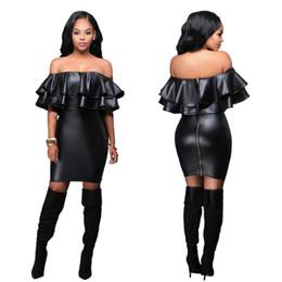 Wholesale Black Women Leather Dresses - NEW Fashion Women Sexy Nightclub Splice Leather Dress Black Strapless Bodycon Dresses