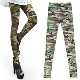 Wholesale Girls Camouflage Trousers - Wholesale- 1PC Fashion Cool Womens Girls Sexy Camo Camouflage Soft Stretch Trousers Army Green Autumn Winter Pants Leggings 2016 Hot