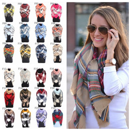 Wholesale Wholesale Cashmere Wraps - Plaid Scarves 140*140 cm Pashmina Grid Striped Shawl Tartan Tassel Scarf Cozy Fashion Wraps Oversized Cashmere Lattice Neckchief YYA542