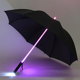 Wholesale Umbrella Led Light - Wholesale- 7 Color LED Lightsaber Light Up Umbrella Laser sword Light up Golf Umbrellas Changing On the Shaft Built in Torch Flash Umbrella
