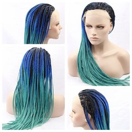 Wholesale Hair Lace Wig Glue - Sexy African Braiding Hair Wigs Ombre Glue Green Braided Wigs with Bbay Hair Heat Resistant Synthetic Lace Front Wigs for Black Women