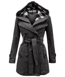 Wholesale Wool Sash - Womens Wool blends Winter Coats Hot Luxury Slim Double Breasted Outwear down Red coats