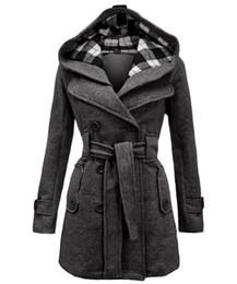 Wholesale Womens Blue Coat Wool - Womens Wool blends Winter Coats Hot Luxury Slim Double Breasted Outwear down Red coats