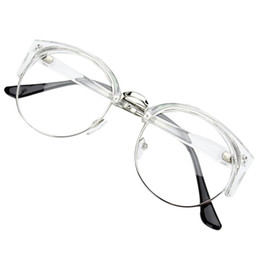 Wholesale Nerd Glasses Clear Frames - Wholesale-Retro Style Women Men Round Nerd Glasses Clear Lens Eyewear Metal Frame Glasses Colors:Transparent White+Silver Frame