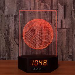 Wholesale Led Clock Diy - 3D Basketball Illusion Lamp Night Light Clock DC 5V USB Powered AA Battery Wholesale Dropshipping Free Shipping Retail Box