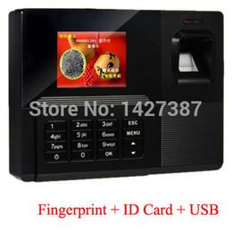 Cartão on-line-Atacado-Biometric Fingerprint Attendance Time Clock + leitor de cartão de ID + USB Recorder empregado eletrônico autônomo Punch Reader Machine