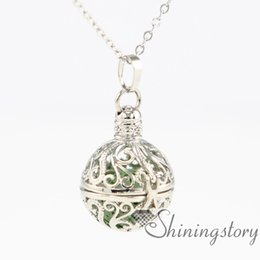 Wholesale Brass Locket Chain - ball metal volcanic stone essential oil diffuser necklace lock necklace gold lockets for sale diffusing necklaces openwork necklaces