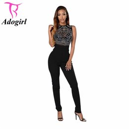 Wholesale One Piece Top Sexy Lady - Wholesale- Mesh See Through Top Long Skinny Sexy Club Jumpsuits Womens Tight One Piece Bodysuit Macacao Black Bodycon Playsuits Ladies