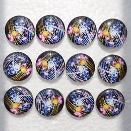Wholesale Silver Spacing Beads - 20pcs Mixed Outer Space Planet Galaxy Snap Button Jewelry Snap Buttons For Ginger Snap Charm Bracelets 18mm Diameter