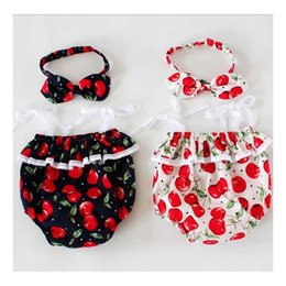 Wholesale Headband Navy - Ins Hot Cherry Cottton Baby Romper Floral Navy Ruffles Childrens Children Dresses infant Clothing Boutique Jumpsuit