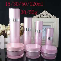 Wholesale Wholesale Glass Mist Bottles - Pink Acrylic Lotion Cream Cosmetic Container Luxury Skin Care Cream Jar Lotion Pump Container Perfume Mist sprayer bottles