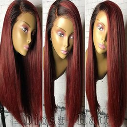Wholesale 1b Burgundy Color Wigs - Diosa Ombre Human Hair Wigs 1bTburgundy Silky Straight Lace Front Human Hair Wigs 1B Burgundy Glueless Full Lace Wigs 180 Density