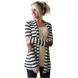 Wholesale Dog Outwear - Wholesale-Luck dog Women Casual Long Sleeve Striped Cardigans Patchwork Outwear