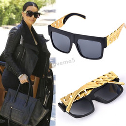 Wholesale Chain Sunglasses Wholesale - Wholesale-2015New design Metal Gold Chain Twisted Fashion Sunglasses Female Oversized Big Frame Women Men Vintage Sunglasses #3