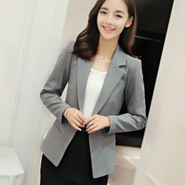 Wholesale womens spring jackets l - Women Blazers and Jackets 2017 Apparel For Womens New Fashion Spring Autumn Long Sleeve Solid White Gray Blue Green Party Work