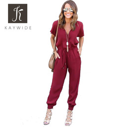 9c6a9e4401c China Wholesale- Kaywide Sexy V Neck Pleated Waist Pocket Rompers Womens  Jumpsuit Plus Size Loose