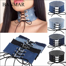 Wholesale Wholesale Resin Letters - BANMAR Stylish 5CM Width Blue Denim Choker For Women Distressed Denim Jeans Choker Chockers Necklace Jewelry Collier Ras Du Cou