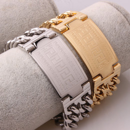 "Men s stainless cuff bracelet à vendre-Bijoux fantaisie 9.05 ""23mm en acier inoxydable Curb Cuban Double Link Chain Bracelet Bracelet Bling Silver / Gold Men's Cuff Jewelry"