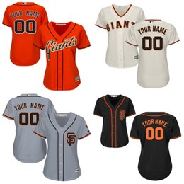 Wholesale Giant Shirts - 2017 Womens Custom San Francisco SF Giants Baseball Jerseys Personalized Ladies  Female Shirt Name &Number All Stitched Size S-2XL