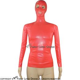 Wholesale Full Latex Hood - Black Sexy Latex Shirt With Hood And Zip at back Mask Fetish Rubber Clothings Plus Size YF-0008