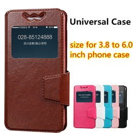 Wholesale Apple Iphone Size - New Universal Slide Leather Case Flip Soft Silicone Set Cover for 3.8 to 6.0 inch Size Andriod Phone Case for iphone Samsung
