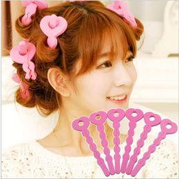 Wholesale Soft Bendy Foam Curlers - DIY Pink Sponge Hair Soft Curler Roller Strip Curl Magic crimper Tool Twist