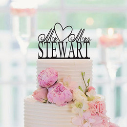 Wholesale Hearts Cake Toppers - Free Shipping Love Heart Bride and Groom Funny Wedding Cake Topper Personalized Acrylic Cake Topper Event & Party Supplies