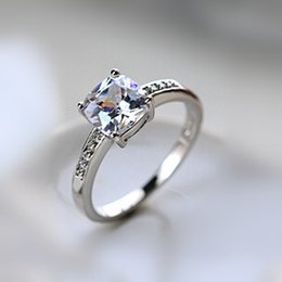 Wholesale Micro Pave Wedding Ring Sets - Beautiful!!! White Gold Color Princess Cupid Cut Zirconia Micro Setting Lady Finger Ring (Gold Silver) Wedding Wholesale