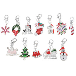 Wholesale Clip Charms Wholesalers - Wholesale- Wholesale Clip On Charms Fit Chain bracelets Christmas charms Snowman Tree Bell Metal Enamel Charms For Jewelry Making 20PCs