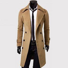 Мужчины тренч пальто-горячие продажи ветровка мужская тонкий повседневная куртка двубортный длинное пальто #1726402 от