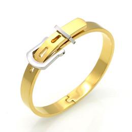 Wholesale Channel Belts - 2017 The Luxury Stylish New Fashion Men Women Stainless Steel Bangles Gold Plated Adjustable Belt Buckle Bracelets & Bangles