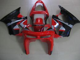 Kit de carenagem kawasaki zx6r 1998 on-line-Kit de Carenagem de plástico de alta qualidade para Kawasaki Ninja ZX6R 1998 1999 vermelho carenagens pretas ZX6R 98 99 OT11