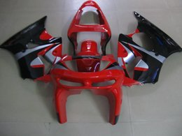Wholesale Zx6r 98 - High quality plastic Fairing kit for Kawasaki Ninja ZX6R 1998 1999 red black fairings set ZX6R 98 99 OT11