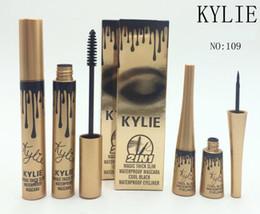 Wholesale Eye Liner Gold - HOT NEW Makeup kylie Gold Birthday Package waterproof Slim dense Curling waterproof Mascara and eye liner set dhl Free shipping