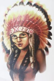 Wholesale Sexy Indian Girls - Wholesale- Indian Chief girl warrior with Feathers hat Size 22 x 12cm Brand New Body Art tatoo Temporary Tattoo Exotic Sexy Henna Tattoo