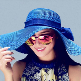 Wholesale Ladies Formal Fashion - fashion free shipping 12 Colors Women Bowknot Wide Brim Summer Beach Sun Hat Lady Vacation Straw Cap