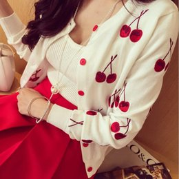 Wholesale Cherries Coat - Wholesale-2016 Newest Spring and Autumn Cherry Embroidery Thin Cardigans Jacket Fashion Long Sleeve Knitted Sweater Cardigans Coats