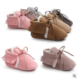 Wholesale Baby Girl Pre Walker Shoes - Baby shoes New born baby girls kids pre walker first walkers toddle shoes kids soft tassel shoes children velvet thicken warm shoe T3471