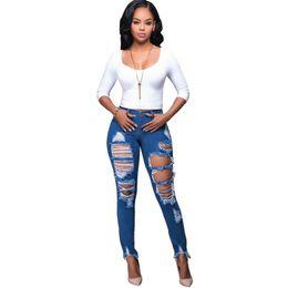 Wholesale Denim Jeans 27 - 2017 Women's Hole Jeans Stretch Casual Ripped Trousers Slim Pencil Jeans High Waist Pants Jean Female Vintage Denim Plus Size