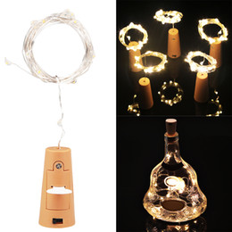Wholesale Led Powered Batteries - Wine Bottle Cork Fairy Lights Bottle Stopper LED String 1M 2M Silver Wire String Lights Battery Powered Christmas Wedding Decor