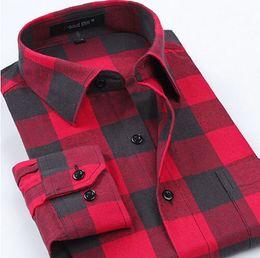 camicie di flanella spazzolato Sconti Camicie in tartan casual da uomo a manica lunga Slim Fit Comfort Soft Flanella in cotone spazzolato Camicia per il tempo libero Abbigliamento uomo