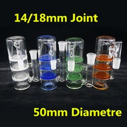 Wholesale Female Parts - Colorful Glass Ash Catcher 50mm Three Disk Honeycomb Glass Bubbler 3 Layer Parts 14mm 18mm Joint Female-Male Triple HC Glass Bong Hookahs