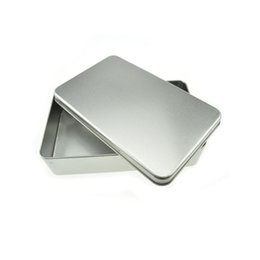 Wholesale Empty Gift Boxes - 180x110x40mm Rectangle Large Silver Metal Empty Tin Storage Box Candy Gift Case Travel Portable Container ZA4644