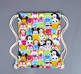 Wholesale High Quality Children Backpacks - Tsum Tsum Mickey Minnie Backpacks High Quality Canvas Drawstring Bags Cartoon Mouse Pattern Casual Everyday Bag For Children Gifts TOP1597