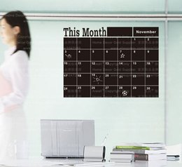 Wholesale Wallpaper Shipping - 206 Monthly Planner Chalkboard Wall Stickers Home Decorations Black Vinyl Removable Planner Mural Wallpaper Free Shipping