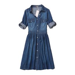Wholesale Denim Jeans Xl Women - high quality 2017 denim dress summer autumn clothing plus size women Jeans dress elegant slim cowboy casual Dresses vestidos