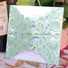 2019 carte di invito di nozze bianche all'ingrosso - Mint verde partito forniture laser cut carta verde menta, all'ingrosso inviti di nozze in bianco 2016 carte di invito di nozze bianche all'ingrosso economici