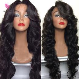 peluca india Rebajas Pelucas llenas naturales del cordón del pelo humano de la onda del cuerpo del color natural de la India para las mujeres negras con la densidad alta del Ponytail 130 del pelo del bebé