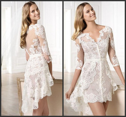 Wholesale Low V Neck Mini Dress - High Low Bridal Dresses 1 2 Long Sleeves V Neckline Lace Appliques Formal Gowns Tiered Skirts Iullsion Bodice Sexy Homecoming Cheap